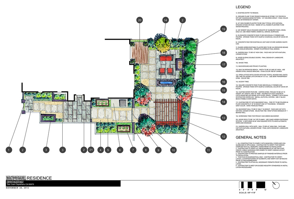 Conceptual landscape plan of a home in San Juan Capistrano, CA. Design features modular concrete pads, patio cover, built-in Ipe bench and deck, bluestone patios, raised planters, vegetable garden, corten steel water feature with black beach pebble, fire pit with large floating wall as backdrop, woodland plantings.