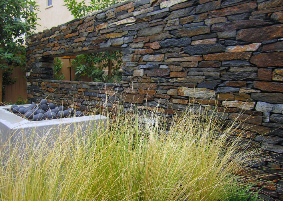 Floating wall with Bouquet Canyon ledge stone with contemporary fire pit. Smooth stucco face with modern fire spheres. Stipa tenuissima in foreground.